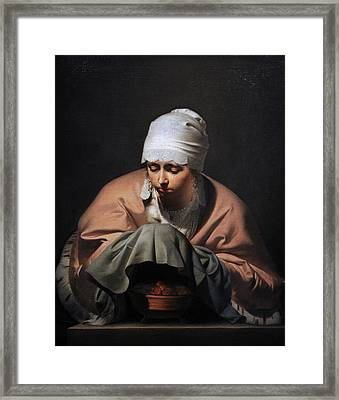 A Young Woman Warming Her Hands Over A Brazier Allegory Of Winter, C. 1644-1648, By Cesar Boetius Framed Print by Bridgeman Images