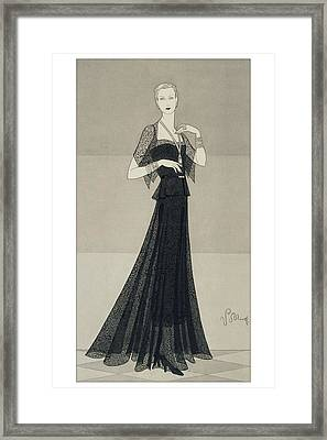 A Young Woman Wearing A Black Dress And Cape Framed Print by Douglas Pollard