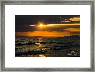 Sunset On The Mediterranian Coast Framed Print by Peter Noyce