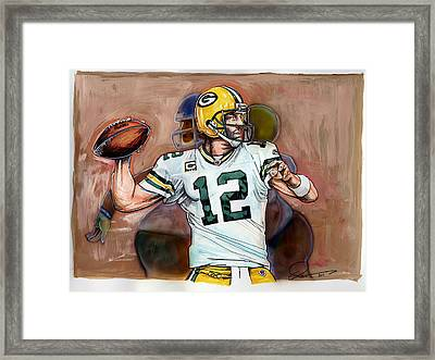 Aaron Rodgers Framed Print by Dave Olsen