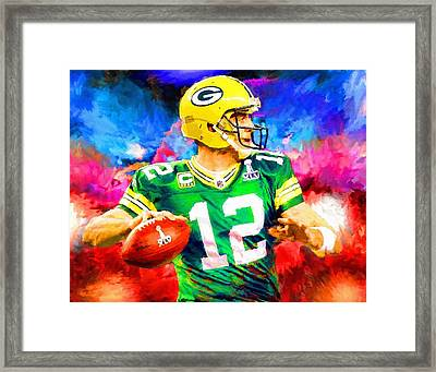 Aaron Rodgers Green Bay Packers Football Art Painting Framed Print by Andres Ramos