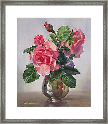 Lady Sylvia Roses In A Silver Vase Framed Print by Albert Williams