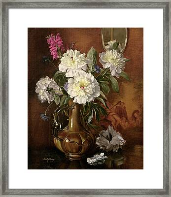 White Peonies In A Glazed Victorian Vase Framed Print by Albert Williams