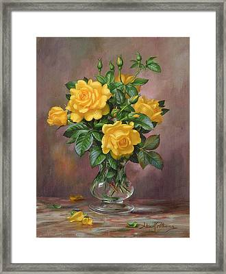 Radiant Yellow Roses Framed Print by Albert Williams