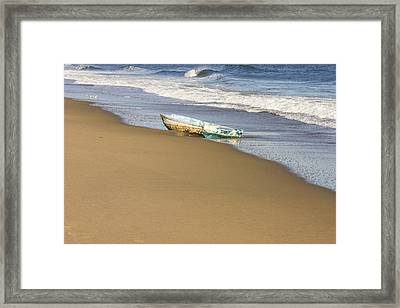 Abandoned Boat Ried State Park Beach Maine Framed Print by Keith Webber Jr