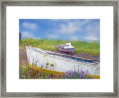 Abandoned Boats Framed Print by Maria Dryfhout