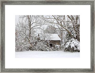 Abandoned Cabin In The Woods Framed Print by Benanne Stiens