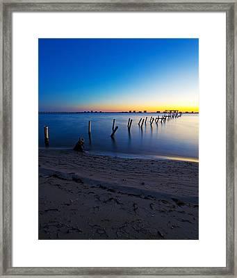 Abandoned Dock At Sunrise Framed Print by Tracy Welker