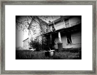 Abandoned Farm House Black And White Framed Print by Catherine Sherman