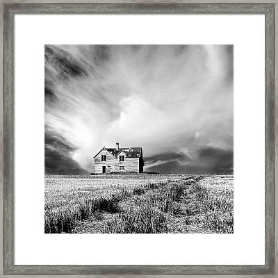 Abandoned Farm House In Stubble Field Framed Print