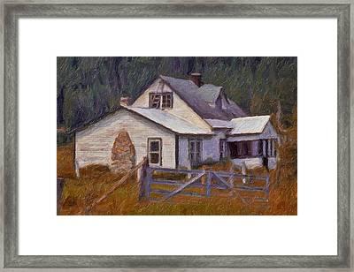 Framed Print featuring the digital art Abandoned Farm House by Richard Farrington