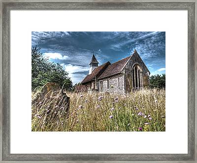 Abandoned Grave In The Churchyard Framed Print by Gill Billington