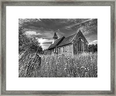 Abandoned Graveyard In Black And White Framed Print by Gill Billington