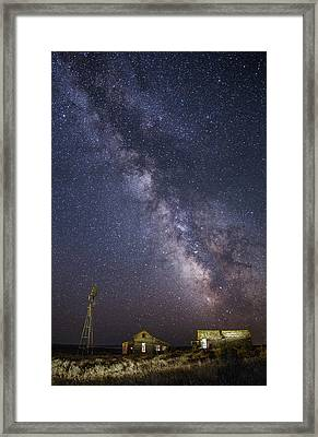 Abandoned Homestead And The Milky Way Framed Print
