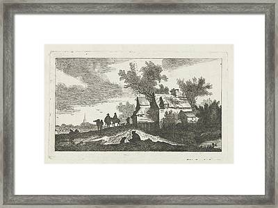 Abandoned House And Riders, At Night Framed Print
