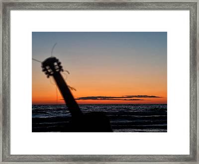 Acoustic Guitar On The Beach Framed Print