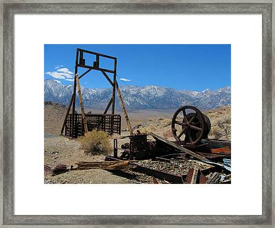 Abandoned Mine With View Of Eastern Sierras Framed Print
