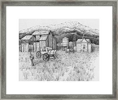 Abandoned Old Farmhouse And Barn Framed Print by Tammie Temple