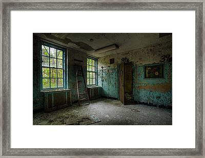 Framed Print featuring the photograph Abandoned Places - Asylum - Old Windows - Waiting Room by Gary Heller