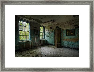 Abandoned Places - Asylum - Old Windows - Waiting Room Framed Print
