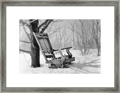Abandoned Rocking Chair In Woods Framed Print
