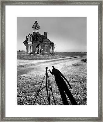 Abandoned School House And My Shadow Circa 1985 Framed Print by John Hanou