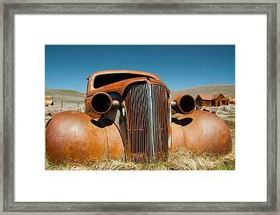 Abandoned Shell Of American Car Framed Print