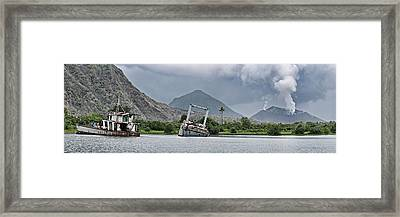 Abandoned Ships With Volcano Framed Print