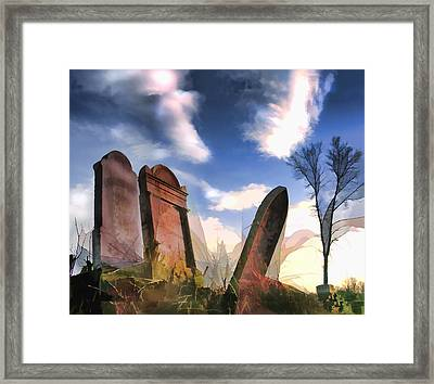 Abandoned Tombstones On The Prairie Framed Print by Elaine Plesser