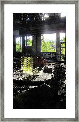 Abaondoned Warehouse W Lawn Chair Framed Print by Anita Burgermeister
