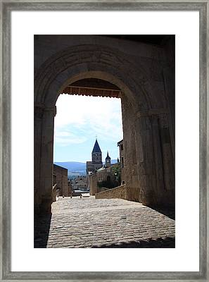 Abbey Through Doorway - Cluny Framed Print by Christiane Schulze Art And Photography