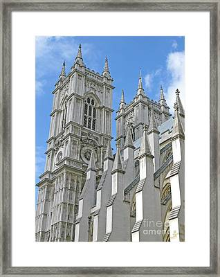 Framed Print featuring the photograph Abbey Towers by Ann Horn