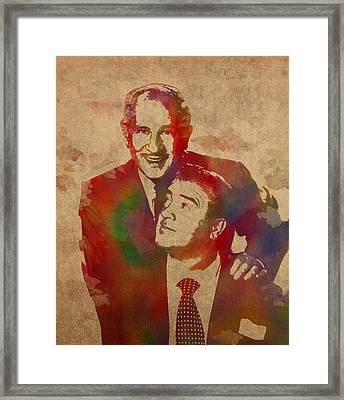 Abbott And Costello Comedians Vintage Watercolor Portrait On Worn Canvas Framed Print by Design Turnpike