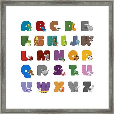 Abc Animals Framed Print by Gina Dsgn