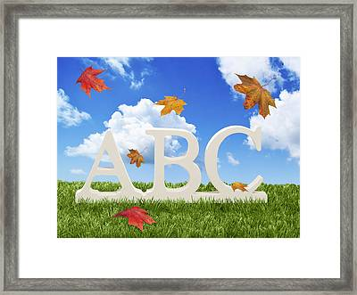 Abc Letters With Autumn Leaves Framed Print by Amanda Elwell