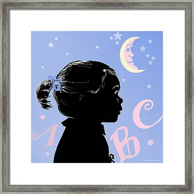 Abc - The Moon And Me Framed Print by Carol Jacobs