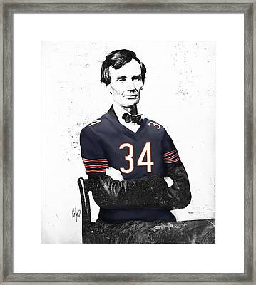 Abe Lincoln In A Walter Payton Chicago Bears Jersey Framed Print by Roly Orihuela