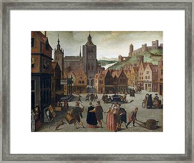 Abel Grimmer The Marketplace In Bergen Op Zoom Probably 1590 And 1597 Framed Print by MotionAge Designs