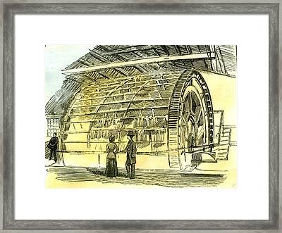 Aberdeen Water-wheel At The Granholm Tweed Mills 1885 Uk Framed Print