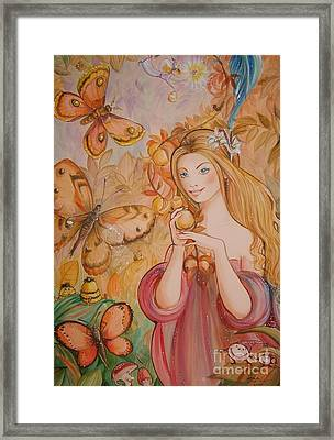 Abigail In The Golden Forest Framed Print by Ottilia Zakany