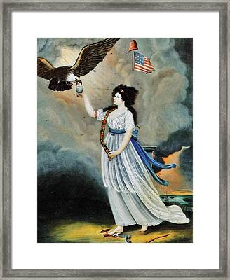 Abijah Canfield Liberty In The Form Of The Goddess Of Youth Giving Support To The Bald Eagle 1800 No Framed Print