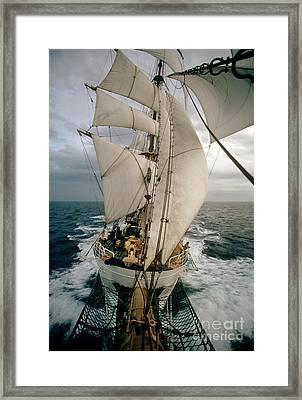 Aboard Coast Guard Training Ship Framed Print by James L. Amos