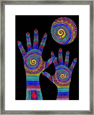 Aboriginal Hands To The Sun Framed Print by Barbara St Jean