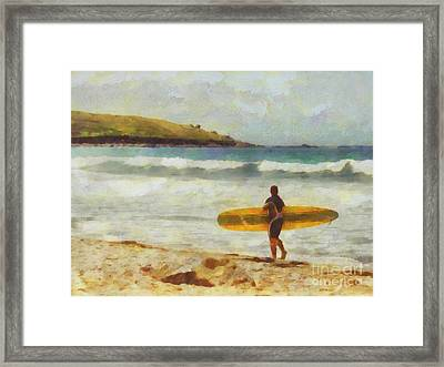 About To Surf Framed Print by Pixel Chimp