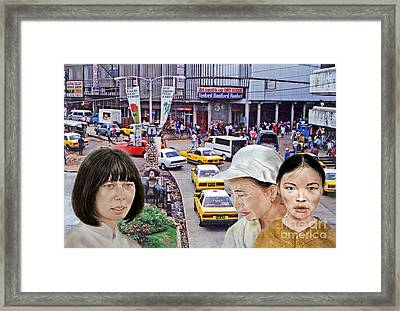Above A City Street In A City In Southeast Asia Framed Print by Jim Fitzpatrick