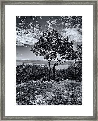 Above Lake George Black And White Framed Print by Joshua House
