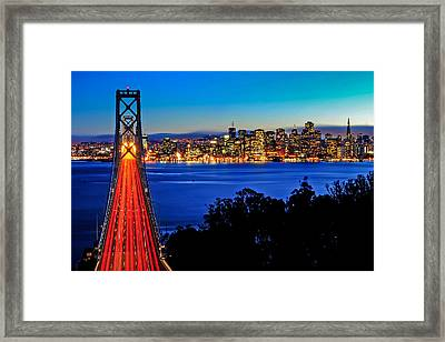 Above The Bay Bridge And San Francisco Skyline Framed Print