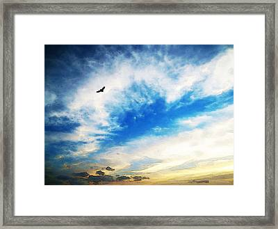 Above The Clouds - American Bald Eagle Art Painting Framed Print by Sharon Cummings