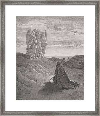 Abraham And The Three Angels Framed Print by Gustave Dore