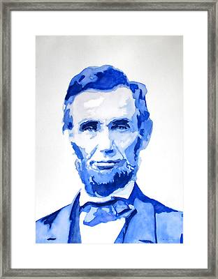 Abraham Lincoln A Study In Blue Framed Print